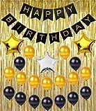 Birthday Party Supplies Decoration Kit, Happy Birthday Banner, Metallic Gold ...