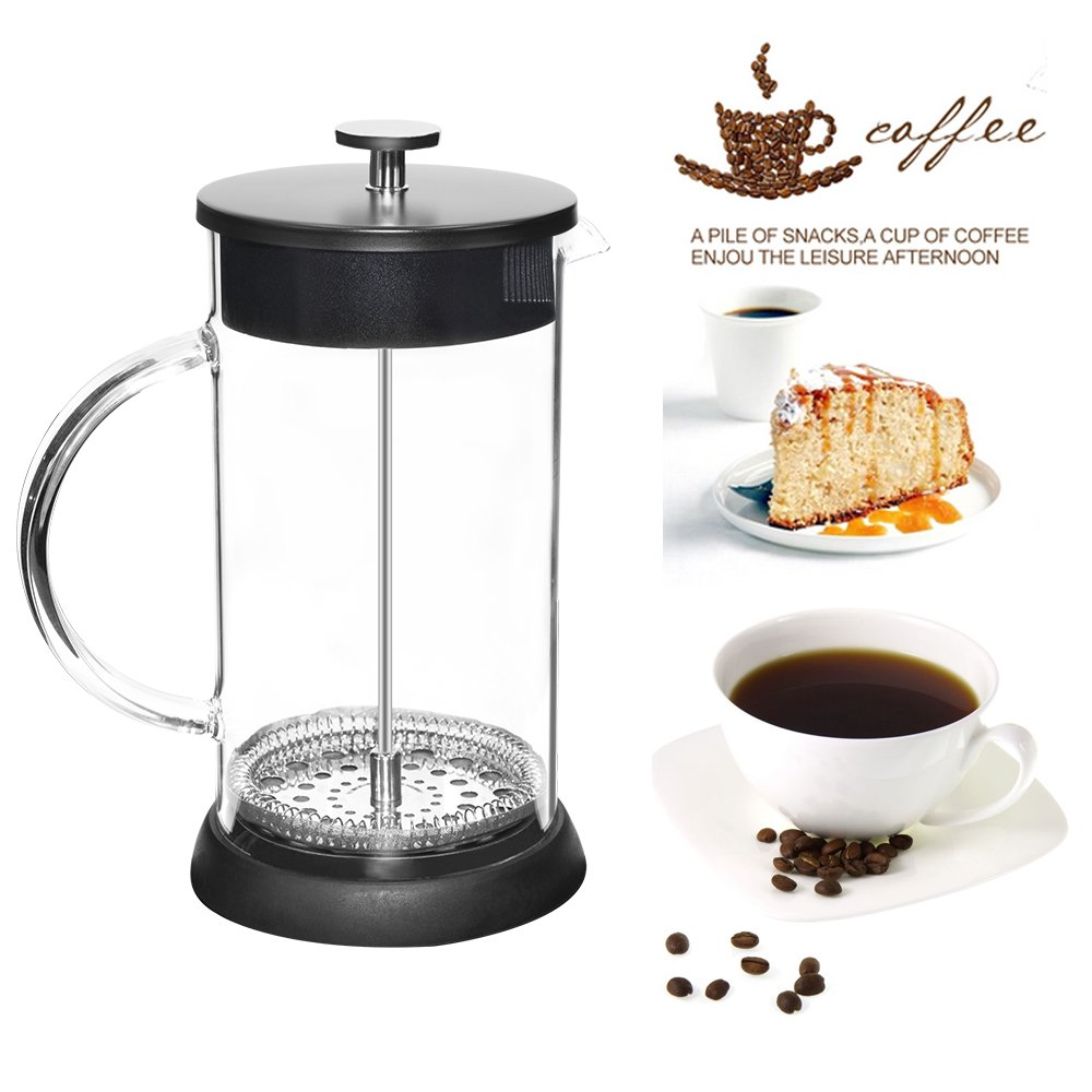 BRBHOM 34oz French Press Coffee /& Tea Makers 8 Cup 1 liter Coffee Press Pot with Heat-Resistant Borosilicate Glass 304 Grade Stainless Steel