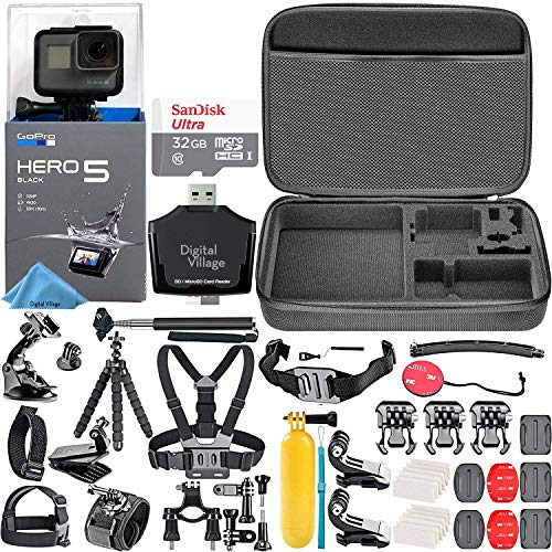 GoPro HERO5 Black + 32GB Memory Card + Hard Case + Card Reader + Chest Strap Mount + Head Strap Mount + Flexible Tripod + Extendable Monopod + Floating Handle + Hero 5 Best Value Bundle (Readers With Strap)