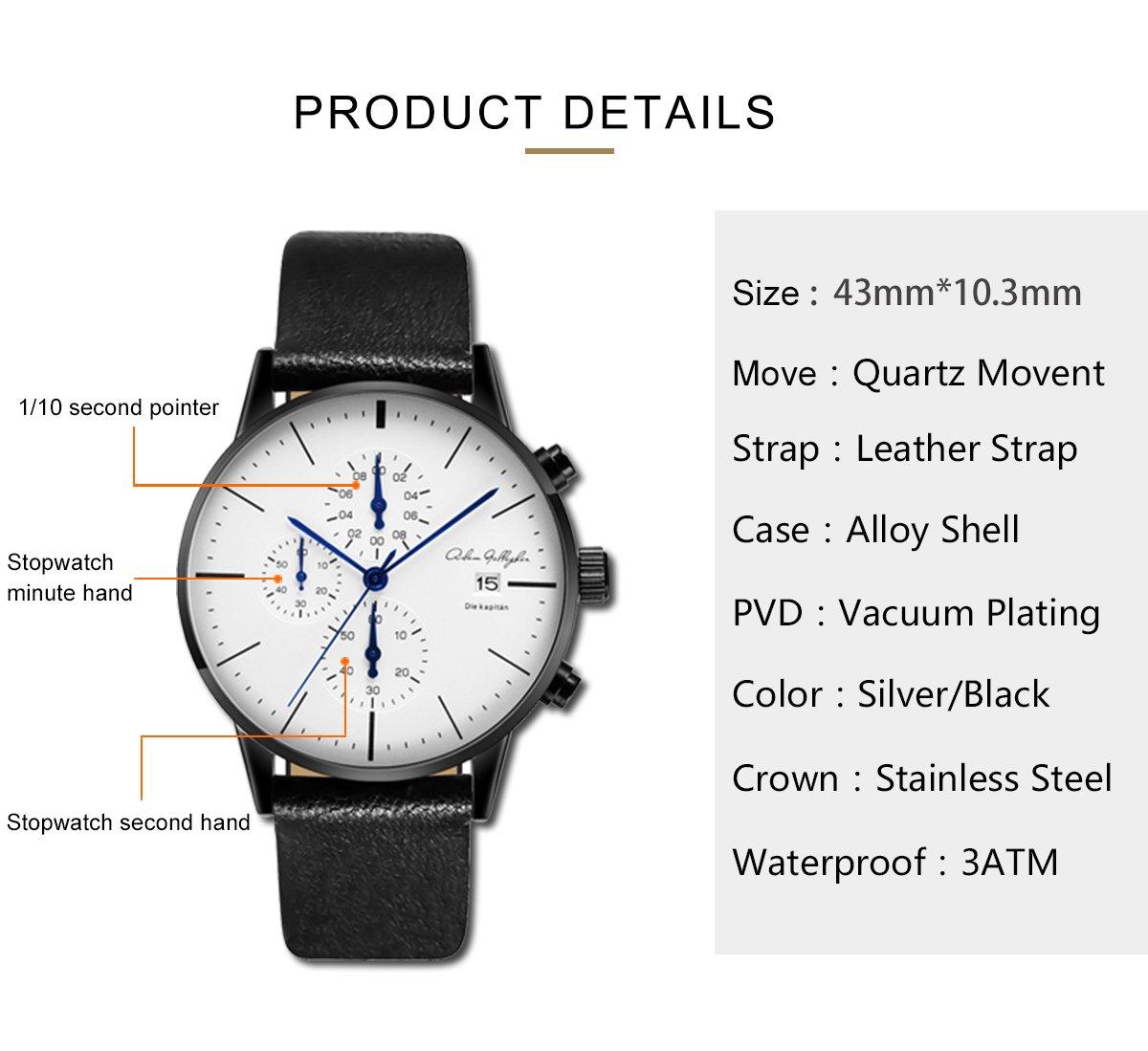 Adam Gallagher Men's Watches 43mm Wrist Quartz Multi Function Chronograph Watch Leather Strap