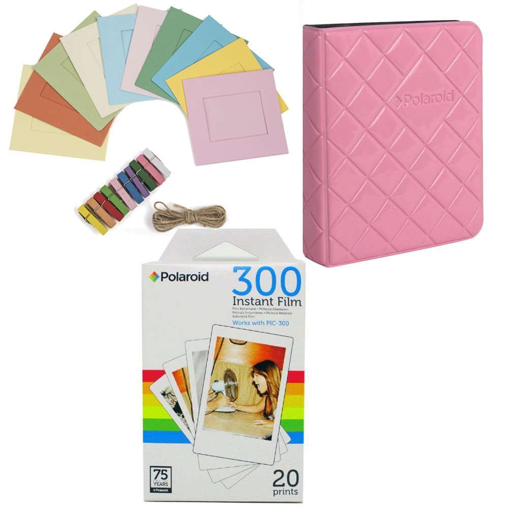 Polaroid PIF300 Photo Paper (20 Sheets) + Colorful Photo Frames + Photo Album (Compatible With PIC300)