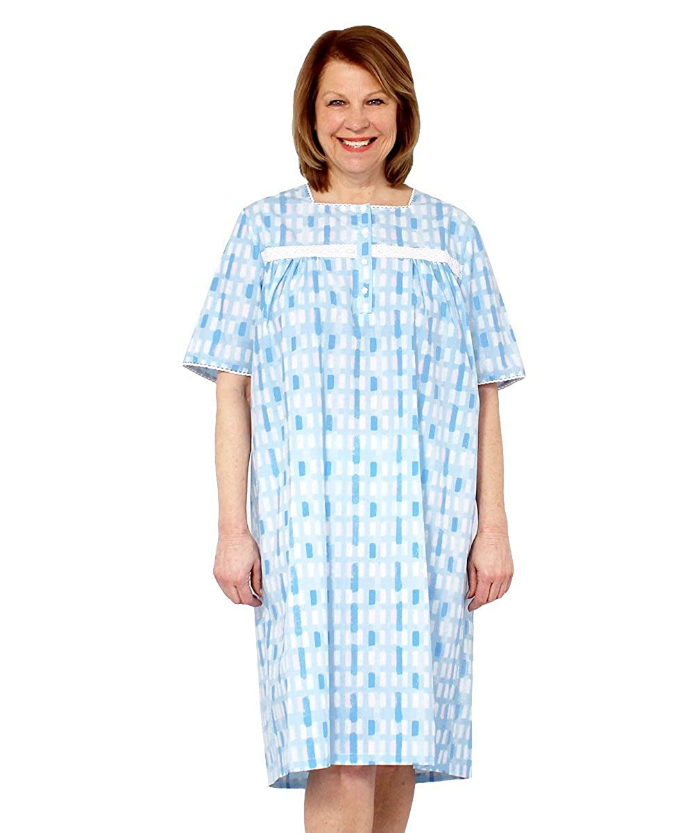 Silverts Disabled Elderly Needs Pretty Summer Hospital Nightgown - Wrap Back Gowns Silvert' s 26180