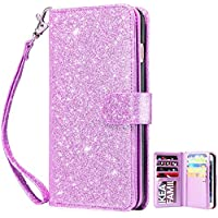 Dailylux iPhone 8 Case, iPhone 7 Wallet Case, Premium PU Leather+TPU Inner Shell Flip Case with 9 Card Slot Luxury Bling Cover for Apple iPhone 7 (2016)/iPhone 8 (2017) Women/Girls-Glitter Purple