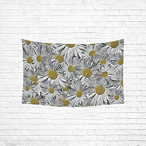 Daisy Invitation (XINGCHENSS Tapestry White Yellow Daisy Flower Invitation Hippie Tapestries Wall Hanging Flower Tapestry Wall Hanging Dorm Decor For Living Room Bedroom 60 X 40 Inch)