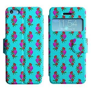 LEOCASE Cráneo y Rose Funda Carcasa Cuero Tapa Case Para Apple iPhone 5C No.1001995