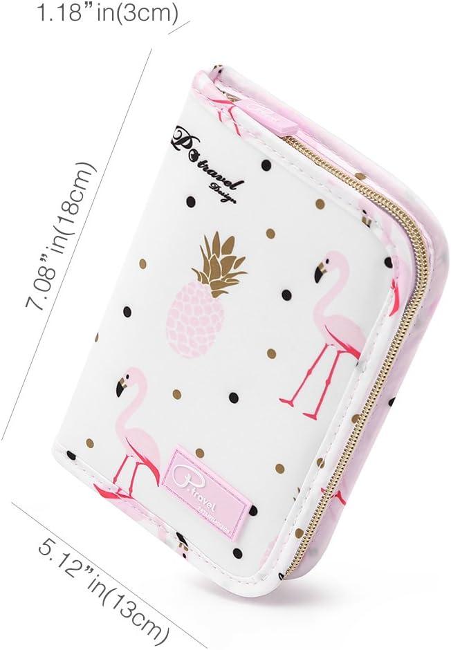 Credit Card /& documents multipurpose Zipper Organizer PT1607 EveryEzy Family Passport Wallet White Flamingo Travel Passport Wallet