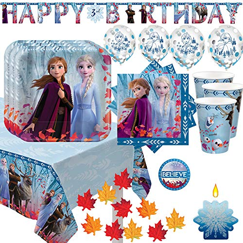 Party De Frozen (Frozen 2 Birthday Party Supplies and Decoration Pack For 16 With Plates, Napkin, Tablecover, Cups, Add An Age Banner, Confetti Balloons, Snowflake Candle, Fall Leaves, and Frozen Inspired)