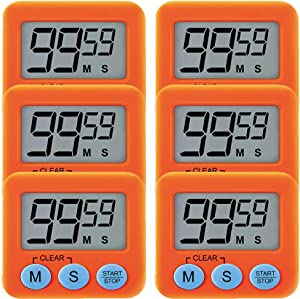 6 Pack Small Mini Digital Kitchen Timer Magnetic Countdown Up Minute Second Timer (6 Orange)