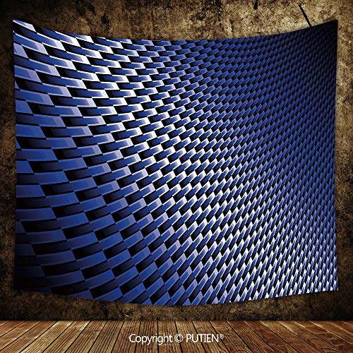(Upscale Tapestry Wall Hanging [ Dark Blue,Curvy Carbon Fiber Texture Image Abstract Industrial Modern Grid,Dark Blue Royal Blue White ] Fabric Wall Hanging Decor for Bedroom Living Room Dorm, 93