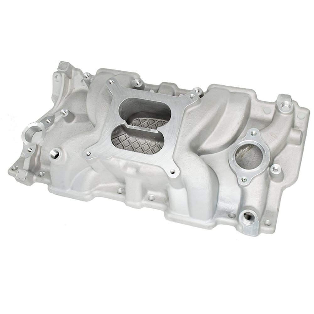Aluminum Intake Manifold High Rise Dual Plane for Small Block Chevy SBC 350 383 Hex Autoparts ZH003