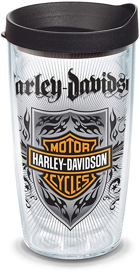 c75abb2ad84 Tervis 1085399 Harley Davidson - Metal Crest Insulated Tumbler with Wrap  and Black Lid, 16oz