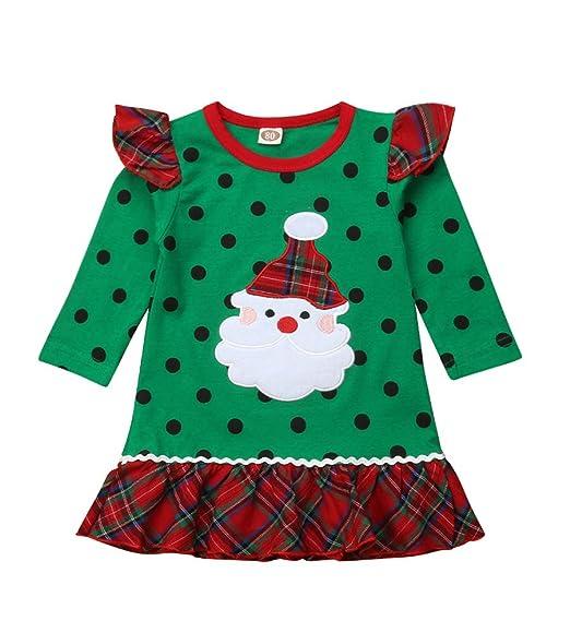25de83e9b3af5 Christmas Kids Baby Girls Santa Claus Ruffle Sleeve Black Dot Print Plaid  Dresses