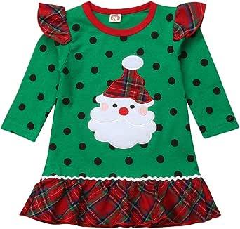 Bebé Niña Vestido de Navidad con Manga Larga Disfraz Navideño para Recien Nacida Chicas 0-6 Años Vestido Verde de Volantes con Estampado de Papá Noel y Puntos