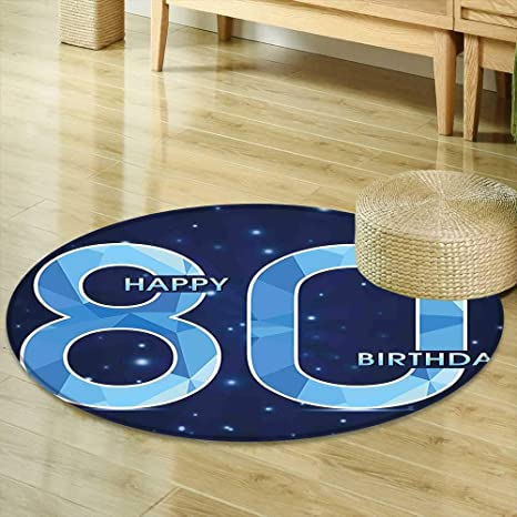 Mikihome Round Area Rug 80th Birthday Decorations Diamond Age 80 Happy Party Theme With Stars