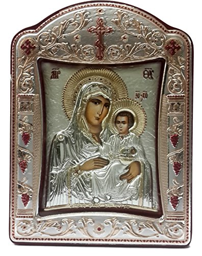 Virgin Mary and Baby Jesus Silver 925 Icon Greek Orthodox Picture Gold Plated 4.1