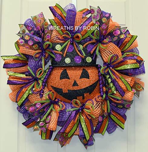 Halloween Jack-O-Lantern Wreath, Halloween Decor, 2453