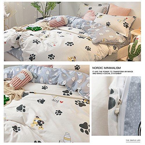 BHUSB Cute Kids Cartoon Cotton Duvet Cover Queen Set Dog Paw Print 3 Piece Animal Bedding Sets Full White Gray Boys Girls Teens Bedding Collection Hidden Zipper,4 Corner Ties by BHUSB (Image #7)