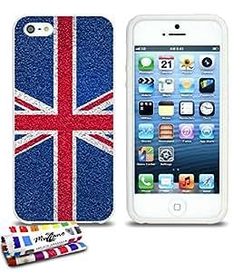 Carcasa Flexible Ultra-Slim APPLE IPHONE 5S / IPHONE SE de exclusivo motivo [Inglaterra Bandera] [Blanca] de MUZZANO  + ESTILETE y PAÑO MUZZANO REGALADOS - La Protección Antigolpes ULTIMA, ELEGANTE Y DURADERA para su APPLE IPHONE 5S / IPHONE SE