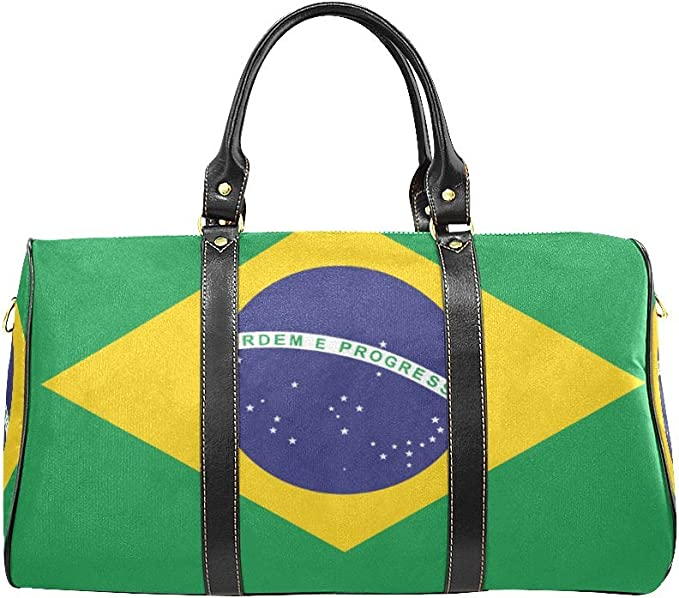 Brazil Flag Psychedelic Travel Duffle Bag Large Lightweight Weekend Bags Nylon Luggage Hanging Bag Waterproof Luggage Duffel Bag In Trolley Handle For Sports Gym