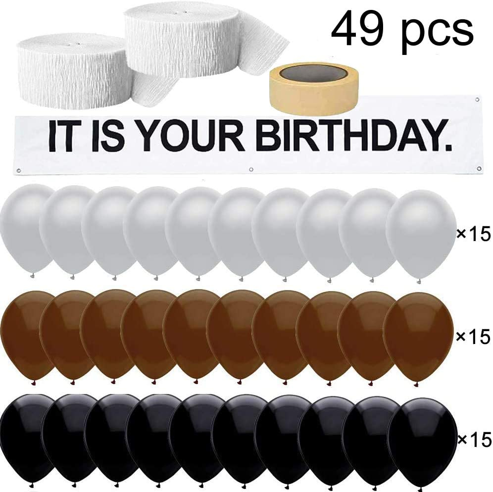 It is Your Birthday.The Office Birthday Decorations,Banner 48 PC Set Vinyl Banner,Brown Black Gray Balloons,White Crepe Streamers Roll,The Office Birthday Banner Set Decorations by Dwight K. Schrute