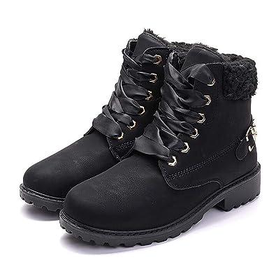 6d63e43956 Susanny Women's Warm Snow Boots Ankle Lace up Short Combat Boot Slip on  Winter Low Heel
