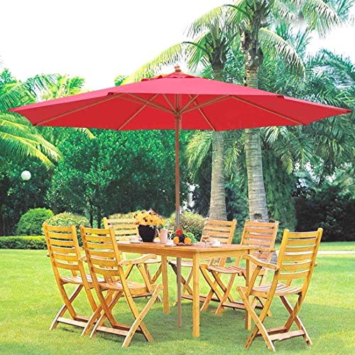 13ft German Beech Wood Wooden Outdoor Patio Umbrella Yard Cafe Store Pool Red US (Up Market Outdoor Furniture Perth)