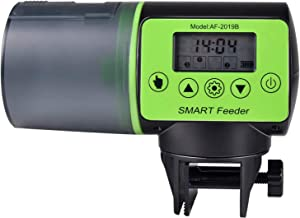 Simple Deluxe PTFISHFEED200 Automatic Fish Feeder Intelligent Programmable Auto Feed Timer Moisture-Proof Fish Food Dispenser for Turtle Pond Aquarium, Fish Tank, Green&Black