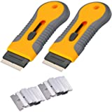 2pcs Razor Blade Scraper Tool Glass Ceramic Metal Scraper - Sticker Glue Paint Adhesive Decal Scraper+30pcs Carbon Steel…