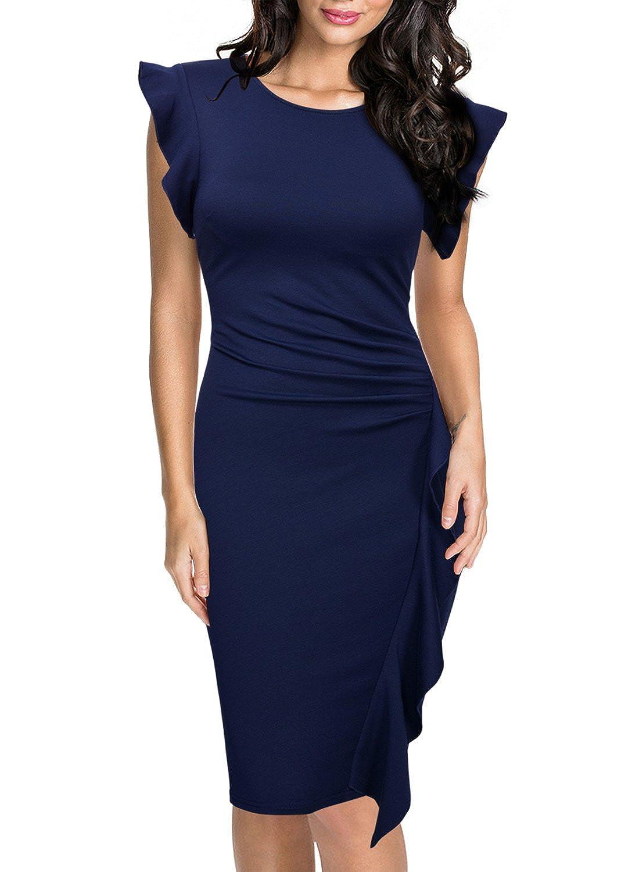TALLA EU 52(XX-Large). Miusol Casual Slim Fit Coctel Vestido de Lápiz para Mujer Azul EU 52(XX-Large)