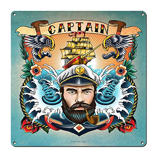 My Beer Cozy Nautical Decor ~ Captain ~ 12 x 12 Inch 24Gauge Steel Sign ~ Old School Tattoo Theme ~ Boating Gifts ~ USA Made ~ Bar Man Cave Beach House Decorations