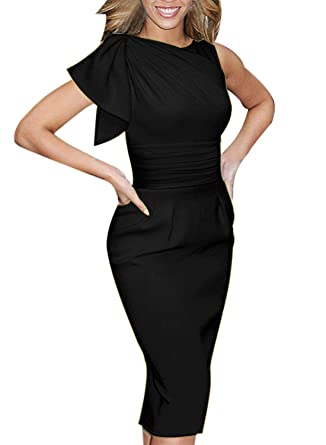 VfEmage Womens Celebrity Elegant Ruched Wear To Work Party Prom Bodycon Dress 1157 Blk 14