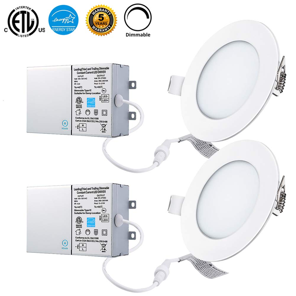 6W 4'' Dimmable LED Panel Lights with Junction Box, 4000K Daylight White 480lm, ETL and Energy Star Certified Recessed Ceiling Lights, Pack of 2