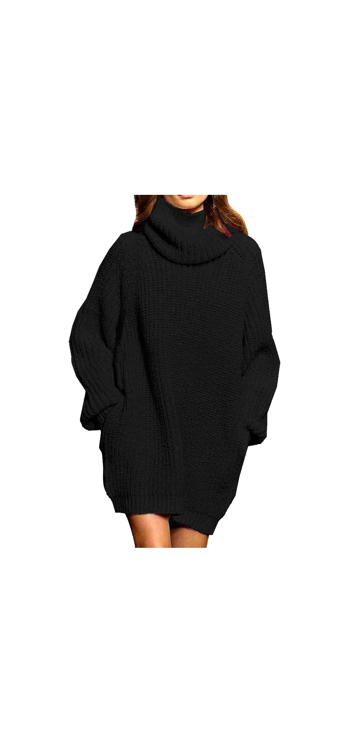 Women's Loose Oversize Turtleneck Wool Long Pullover