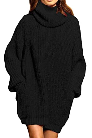b3a4928847d Pink Queen Women s Loose Turtleneck Oversize Long Pullover Sweater Dress  Black S