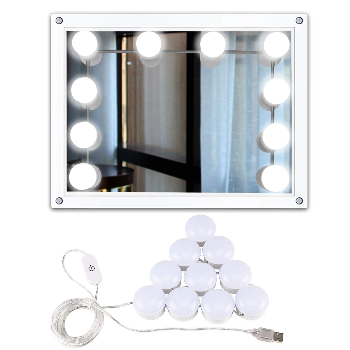 Hollywood Style LED Vanity Mirror Lights Kit,Makeup Light Kit with 10 Dimmable Light Bulbs for Makeup, Dressing, Decoration, USB Power Makeup Light(15.2Ft/4.8M)