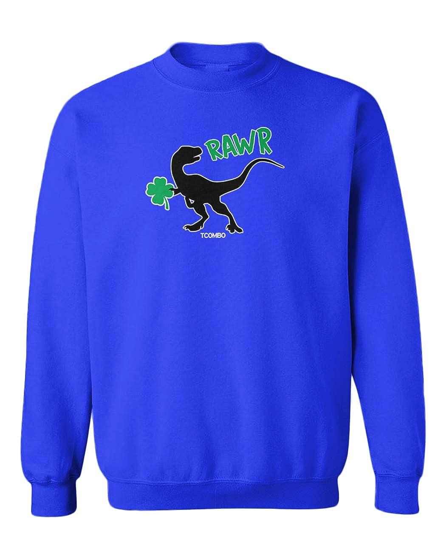 Velociraptor Youth Fleece Crewneck Sweater Dinosaur Four Leaf Clover