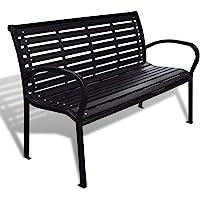 vidaXL Garden Bench with Steel Frame Outdoor Park Lounge Patio Chair Seat