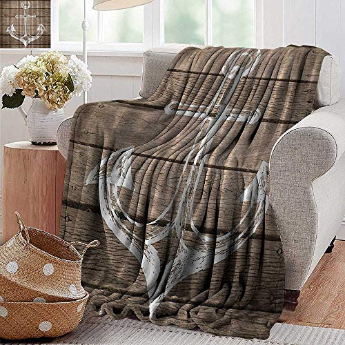 Flannel Throw Blanket Hand Drawing Boating Sketch Taupe Rustic Wooden Planks Coastal Home Buoy Kids Textile Machine Washable Brown White Super Soft and Warm Durable Throw Blanket 60