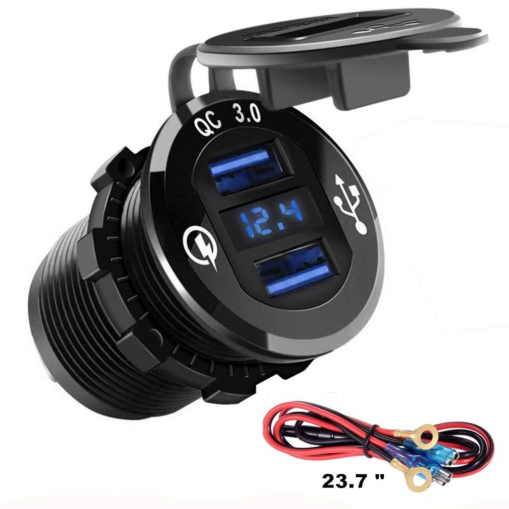 Ltd Anhui Chensi Electronic Technology Co Blue Chenes 23.7 Wire Aluminum Metal Car Charger Dual USB Ports Quick Charge 3.0 with Digital Led Voltmeter Universal Use for iPhone Smartphone Car Boat Samsung Galaxy S9 S8 Plus Note