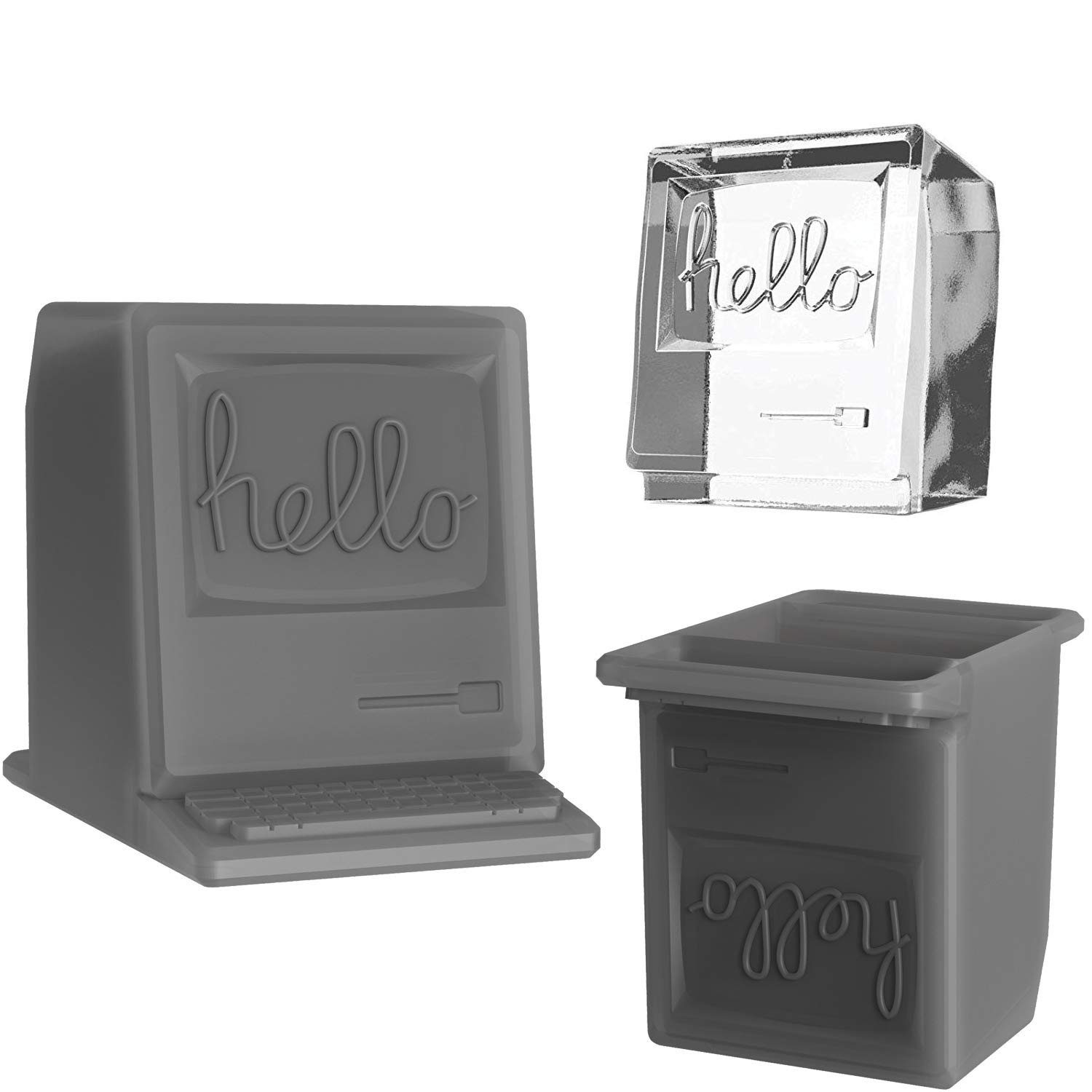 Drink Different by Cozy - Retro Ice Cube Tray, 1984 Mac Computer Shape Mold with Hello & Keyboard, Silicone, Small 2 inch Cubes, Ideal for Drinks/Whiskey, 2 Pack, Spacy Grey