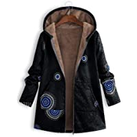 ❤️ Mosstars Women Winter Coats,Ladies Floral Print with Pockets Warm Vintage Full Sleeve Outwear Womens Broadcloth Hooded Cardigans Jacket Oversize S-XXXXXL