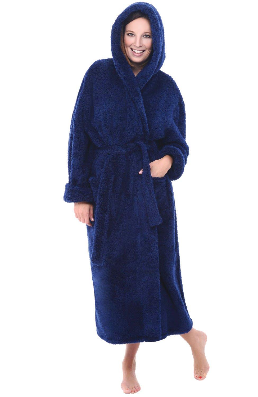 Alexander Del Rossa Womens Fleece Robe, Long Plush Hooded Bathrobe, 1 X 2X Navy Blue (A0304NBL2X)