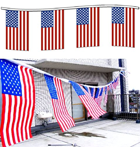 SPJ: USA Flag String 34 Feet America Patriotic Spirit Banner Stars and Stripes Decorate Party Event Ceremony (Federal Bar Halloween)