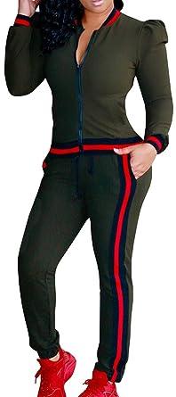 Ybenlow Women S 2 Piece Zip Up Top Pant Bodycon Sweatsuit Set