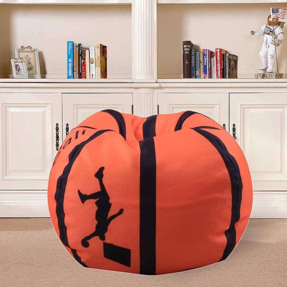 Rugby Stuffed Animal Storage Bean Bag Chair For Kids 38 Inch Extra Large Blanket Fill Beanbag Cover Plush Organizer For Child Seat Storage Sack Soft Smooth Polyester Kid/'S Room Originality