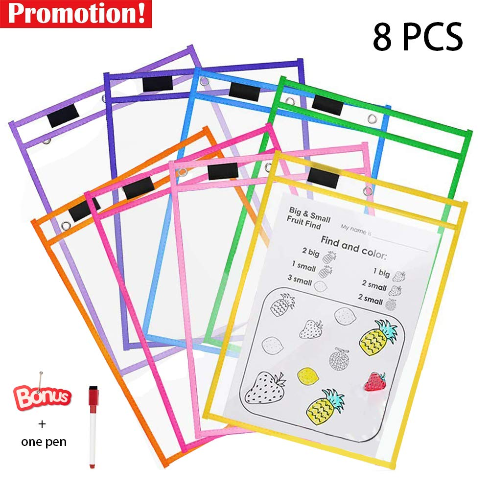 Cooldool Dry Erase Pockets, 8 Pcs Rusable Dry Erase Sleeves, 10 x 13 inch Eraseble Pocket Sleeve Protect Mixed Colors Pocket with Hole Hanger and Colorful Edge Plastic factory