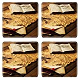 Best MSD Book On Writings - MSD Square Coasters Non-Slip Natural Rubber Desk Coasters Review