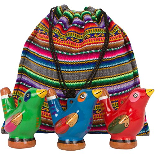 Beautiful Chirping Ceramic Ocarina Whistle Bird - Clay Fired and Hand-Painted in Peru 3-Pack Variety Colors - with Souvenir Carrying Bag