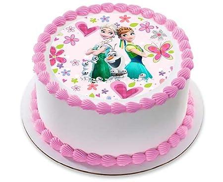 Disney Frozen Fever Elsa Anna Princess Cake Topper Icing Sugar Paper