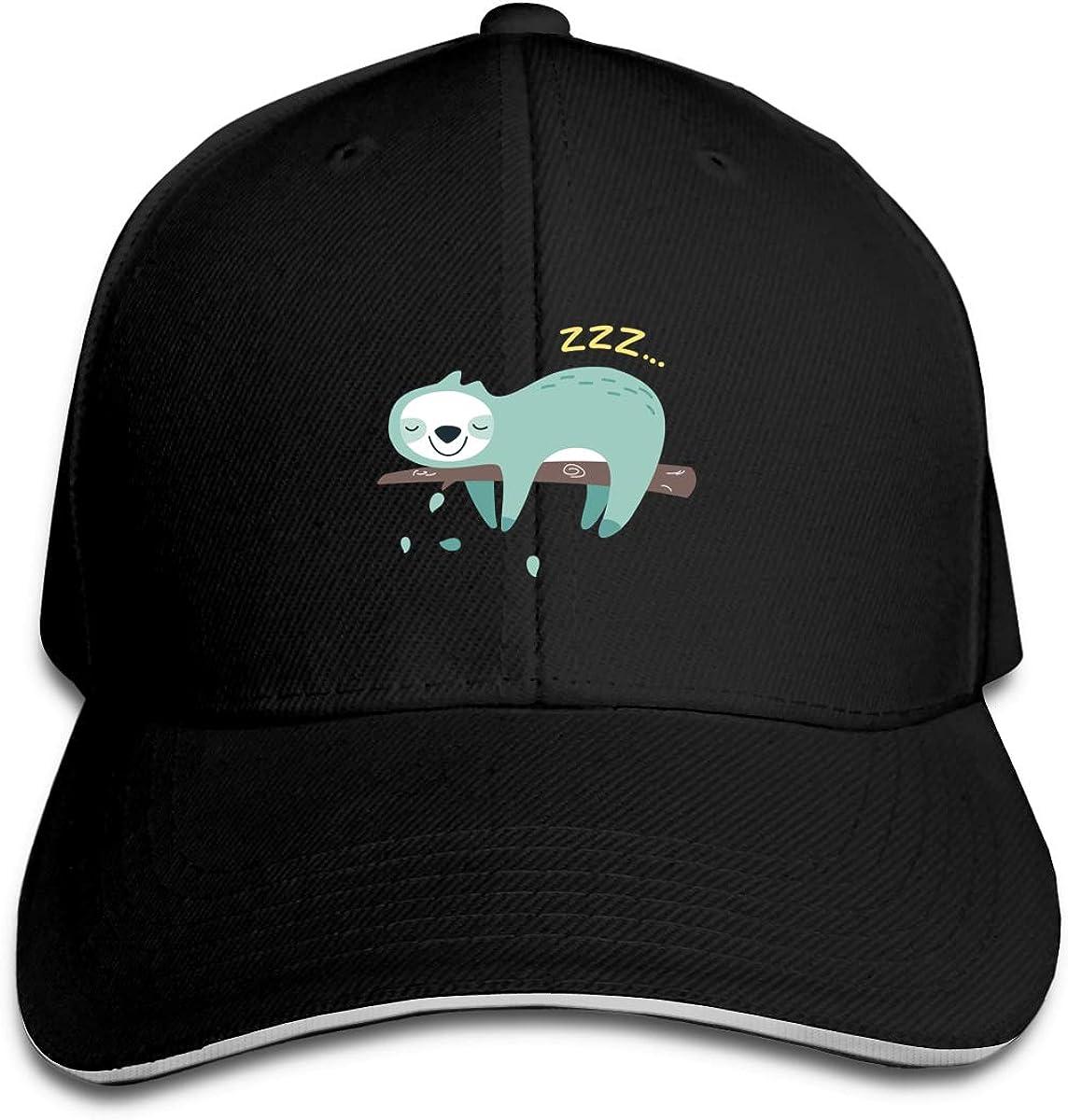 Lazy Sloth Logo Classic Adjustable Cotton Baseball Caps Trucker Driver Hat Outdoor Cap Black